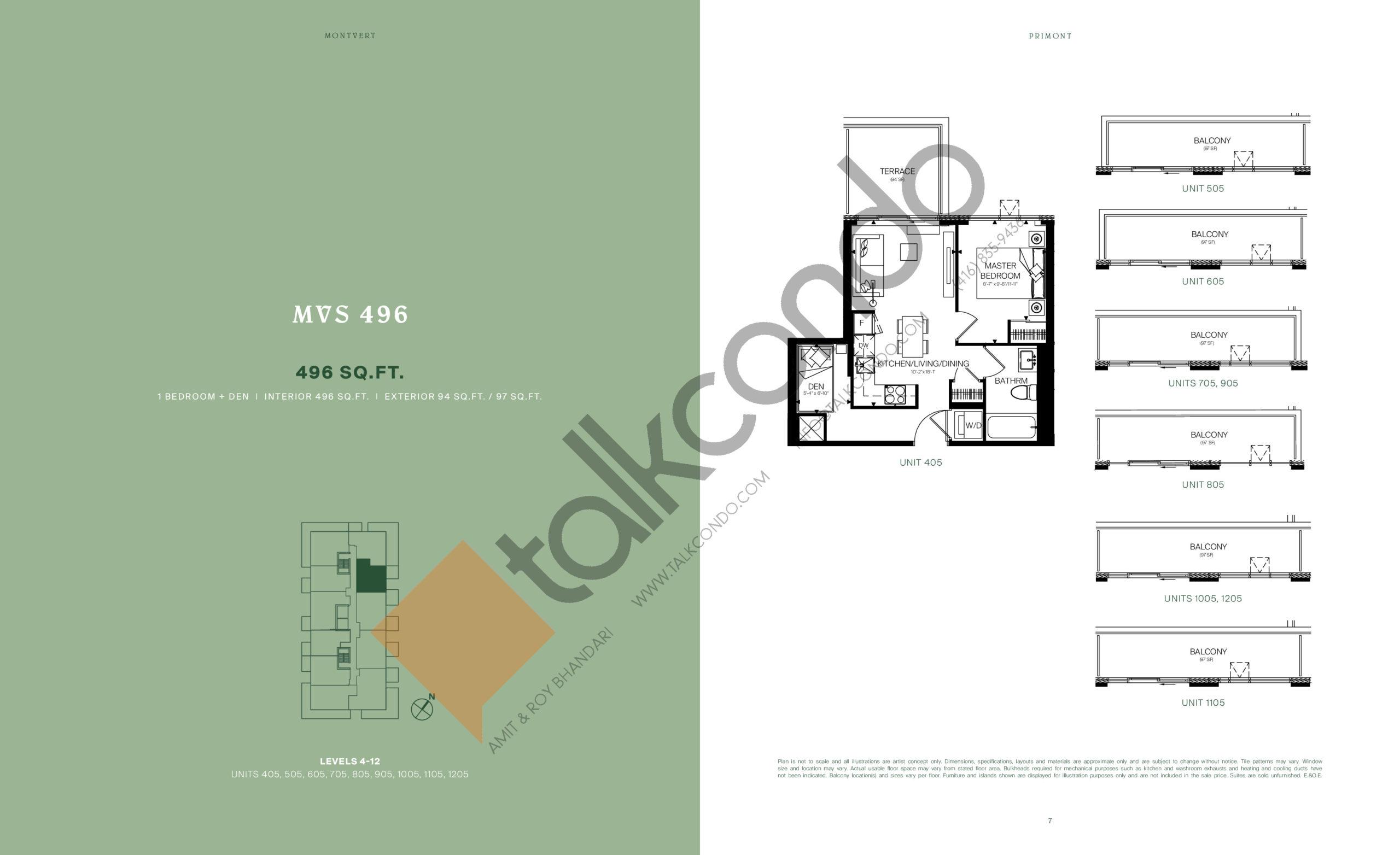 MVS 496 Floor Plan at MontVert Condos - 496 sq.ft