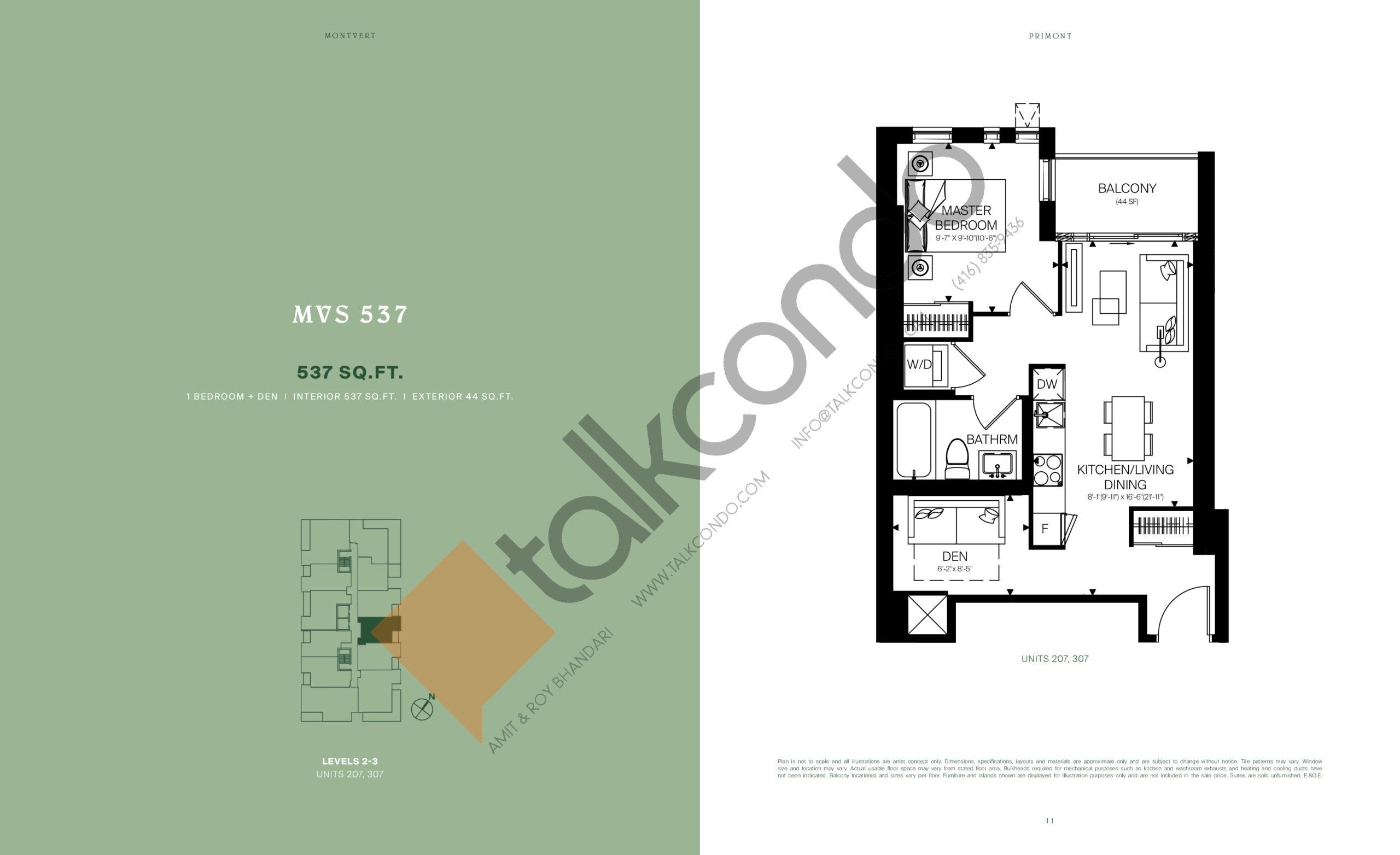 MVS 537 Floor Plan at MontVert Condos - 537 sq.ft