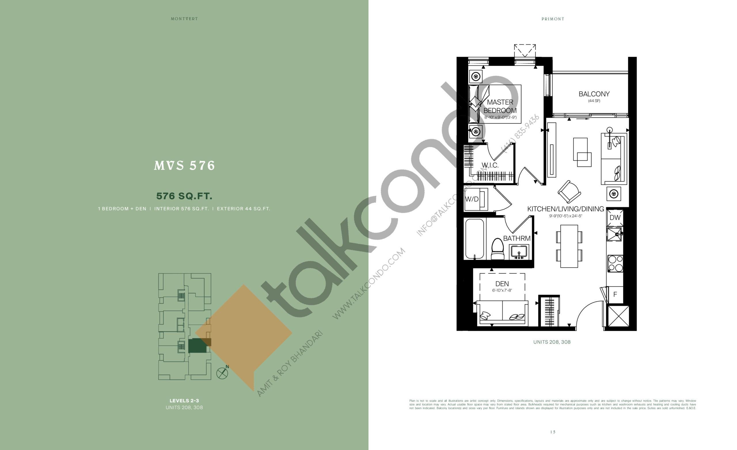 MVS 576 Floor Plan at MontVert Condos - 576 sq.ft