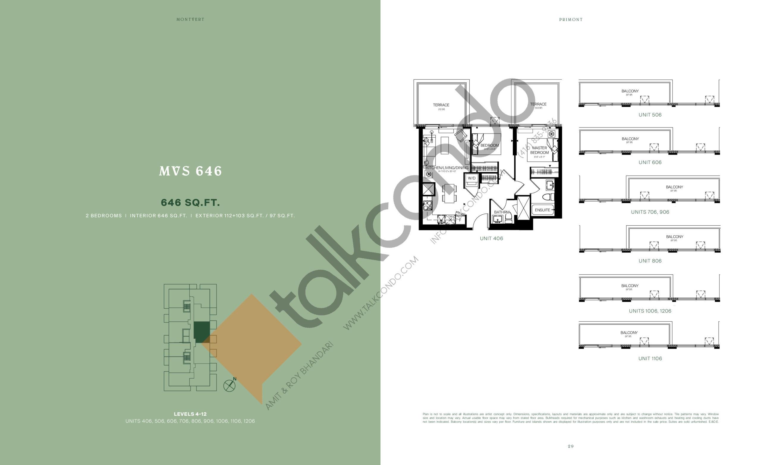 MVS 646 Floor Plan at MontVert Condos - 646 sq.ft