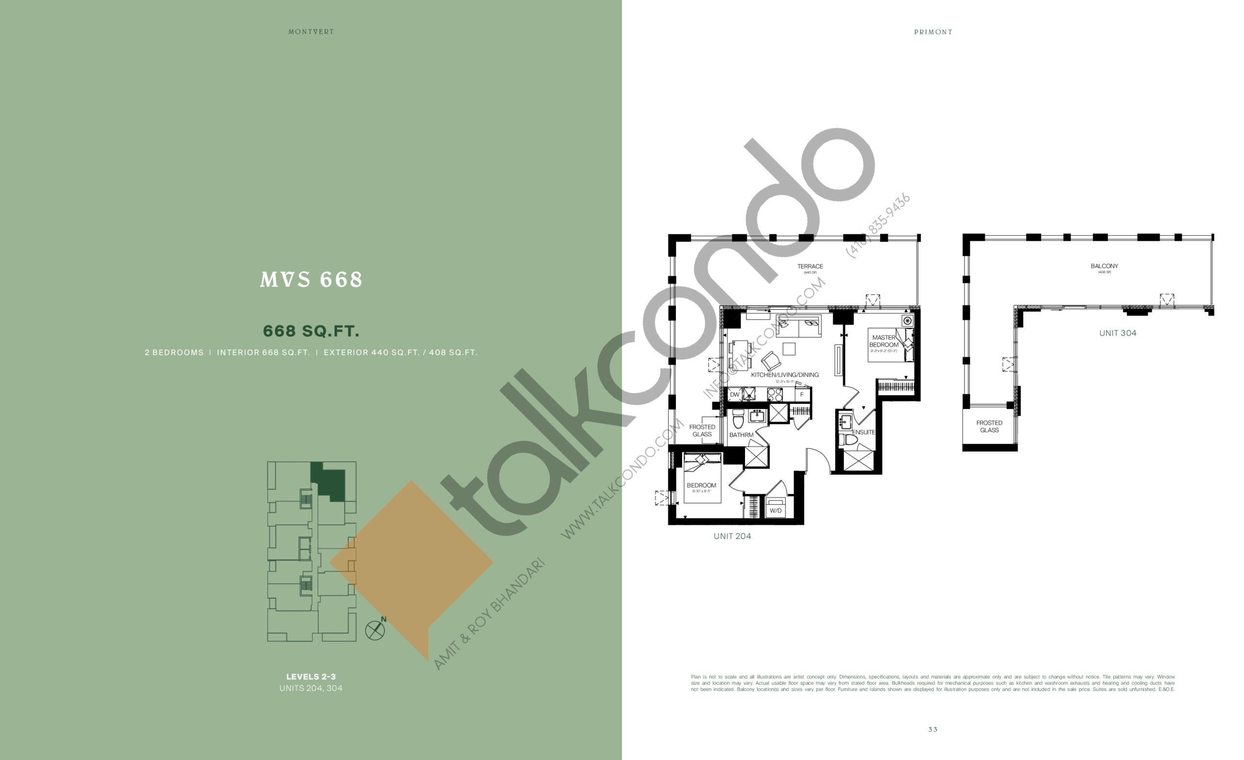 MVS 668 Floor Plan at MontVert Condos - 668 sq.ft