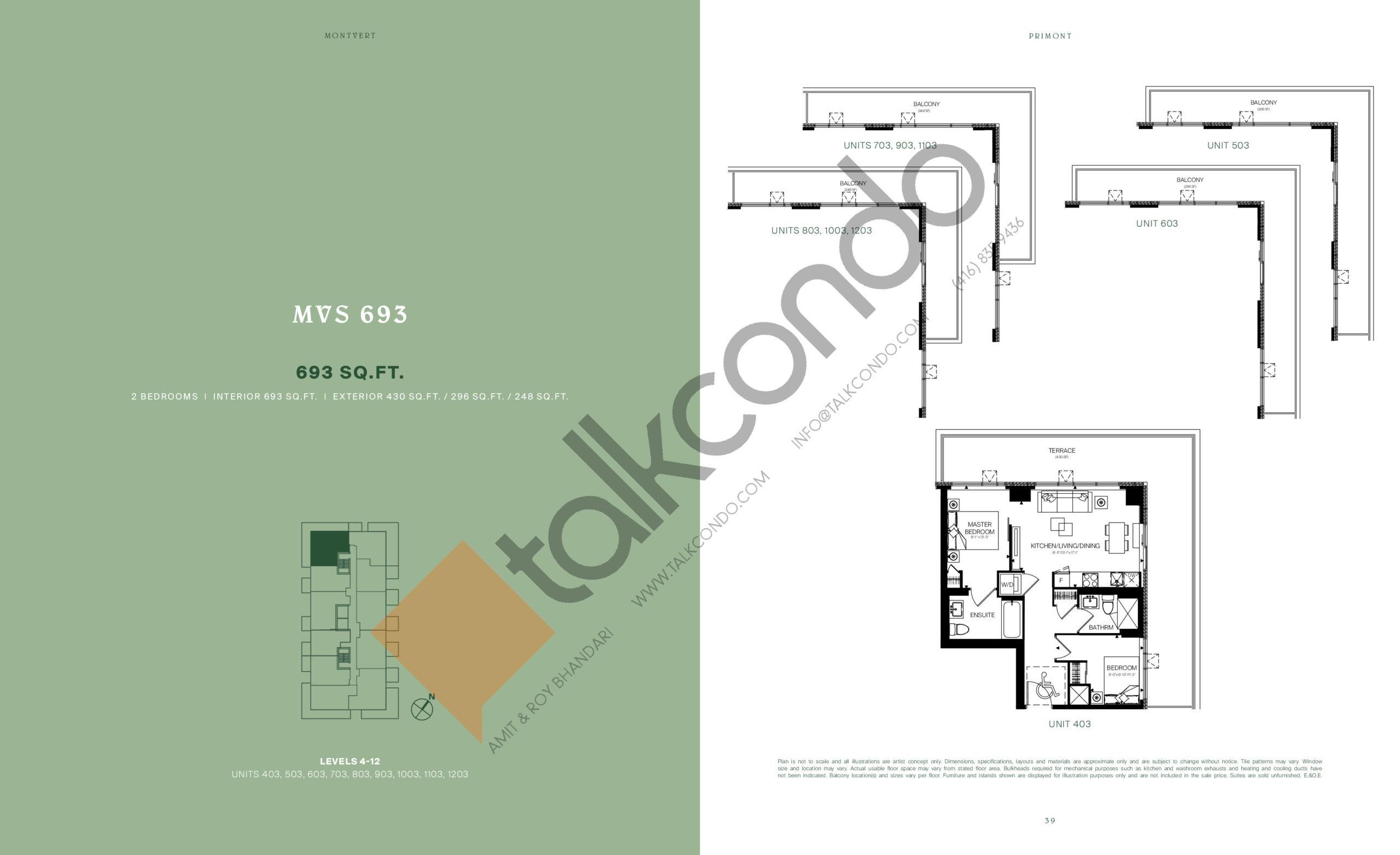 MVS 693 Floor Plan at MontVert Condos - 693 sq.ft