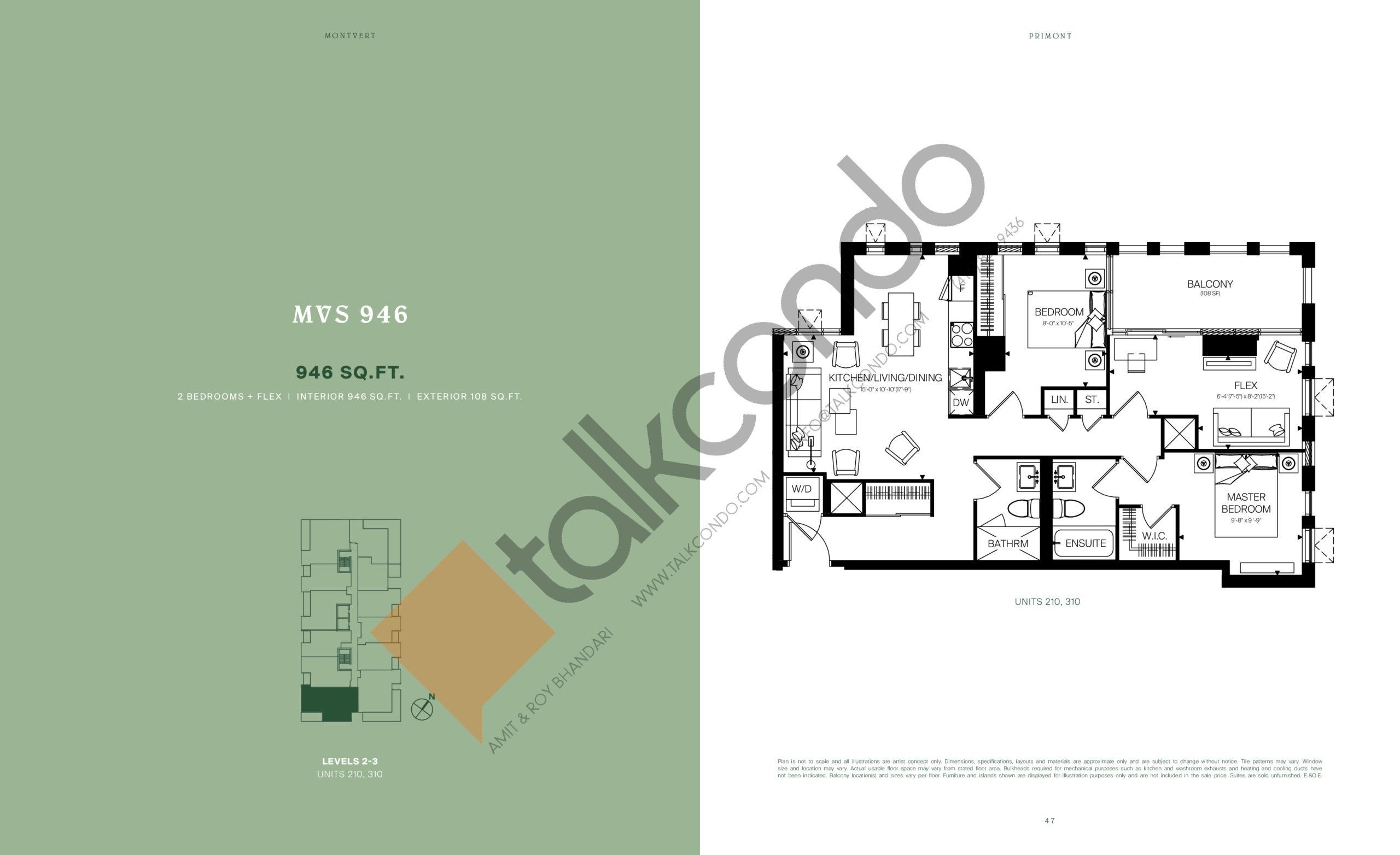 MVS 946 Floor Plan at MontVert Condos - 946 sq.ft