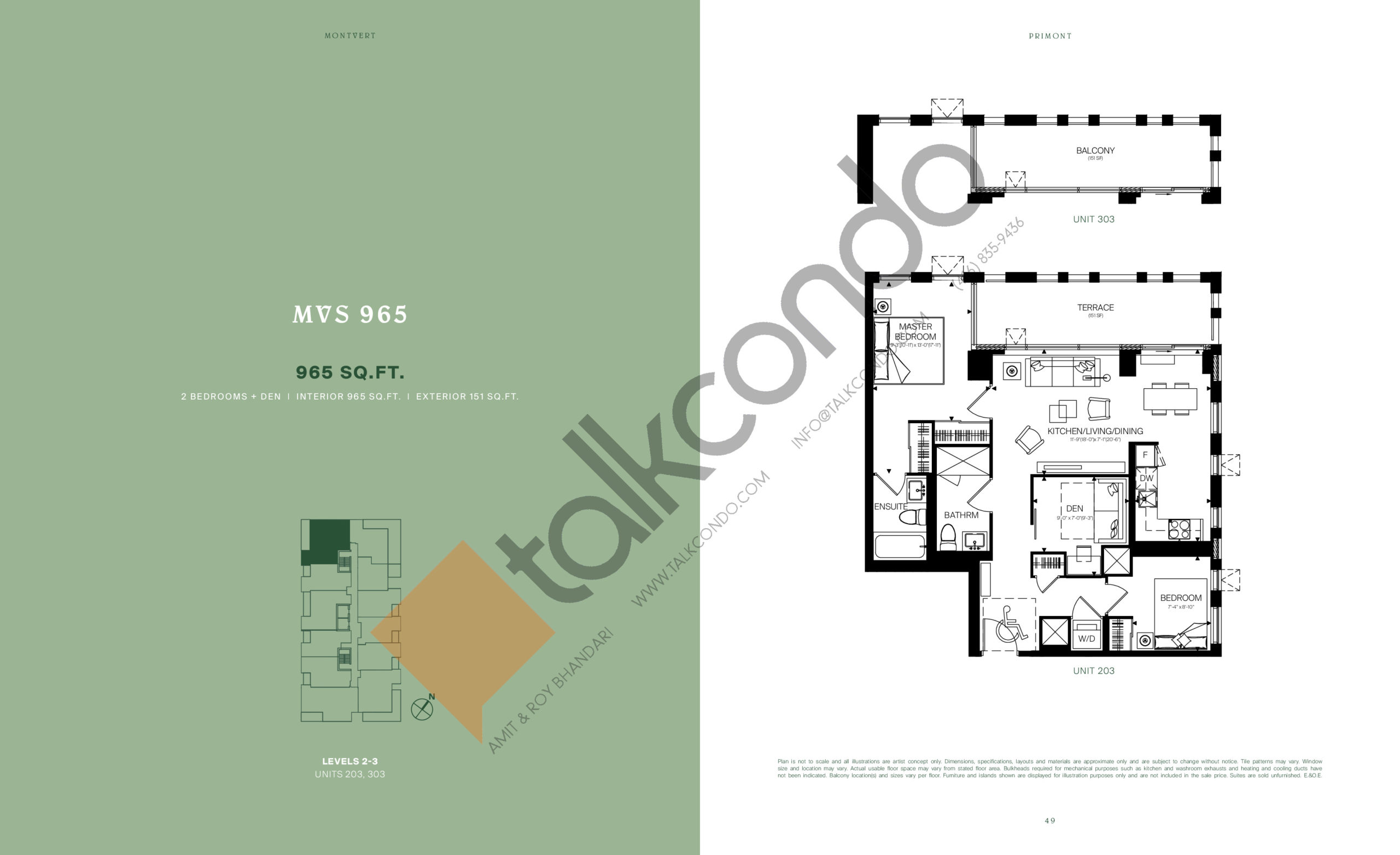 MVS 965 Floor Plan at MontVert Condos - 965 sq.ft