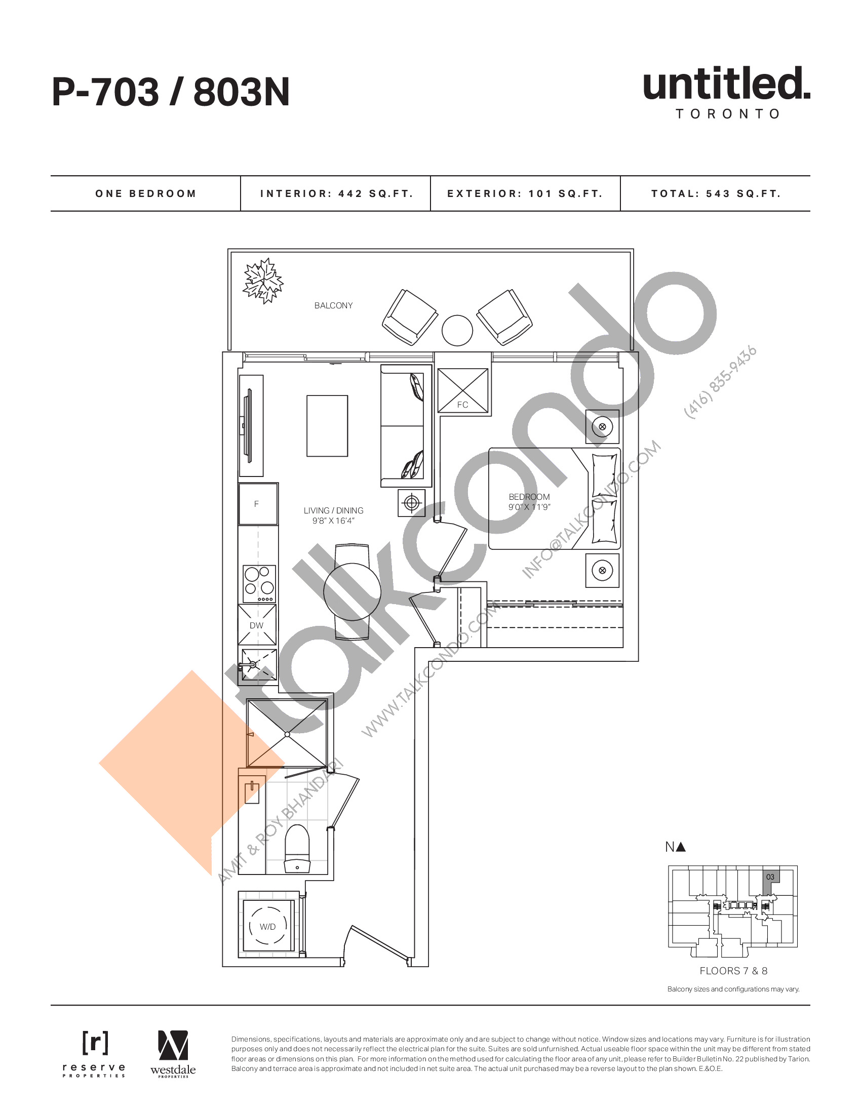 P-703 / 803N Floor Plan at Untitled North Tower Condos - 442 sq.ft
