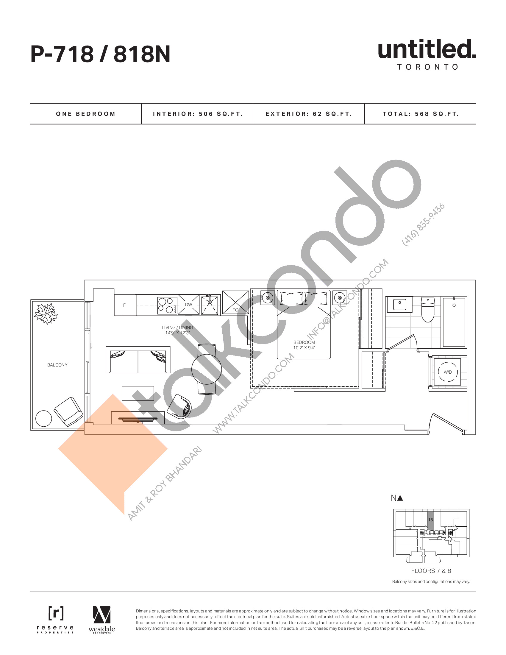 P-718 / 818N Floor Plan at Untitled North Tower Condos - 506 sq.ft