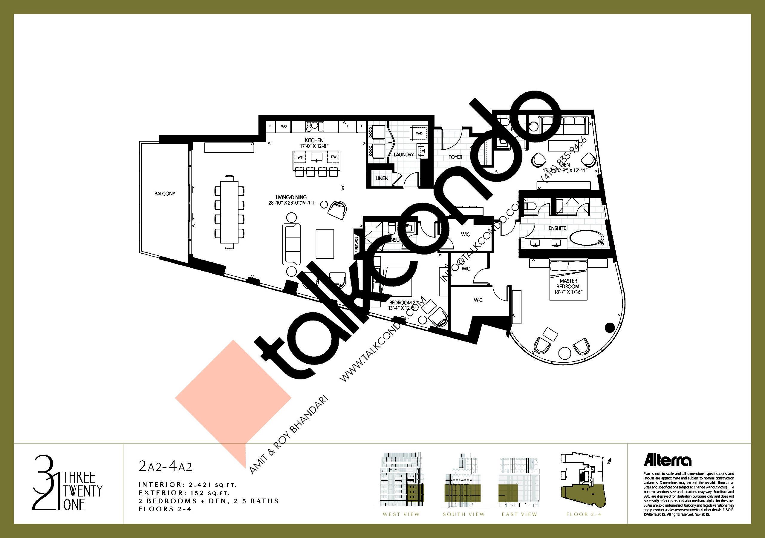 2A2-4A2 Floor Plan at 321 Davenport Condos - 2421 sq.ft