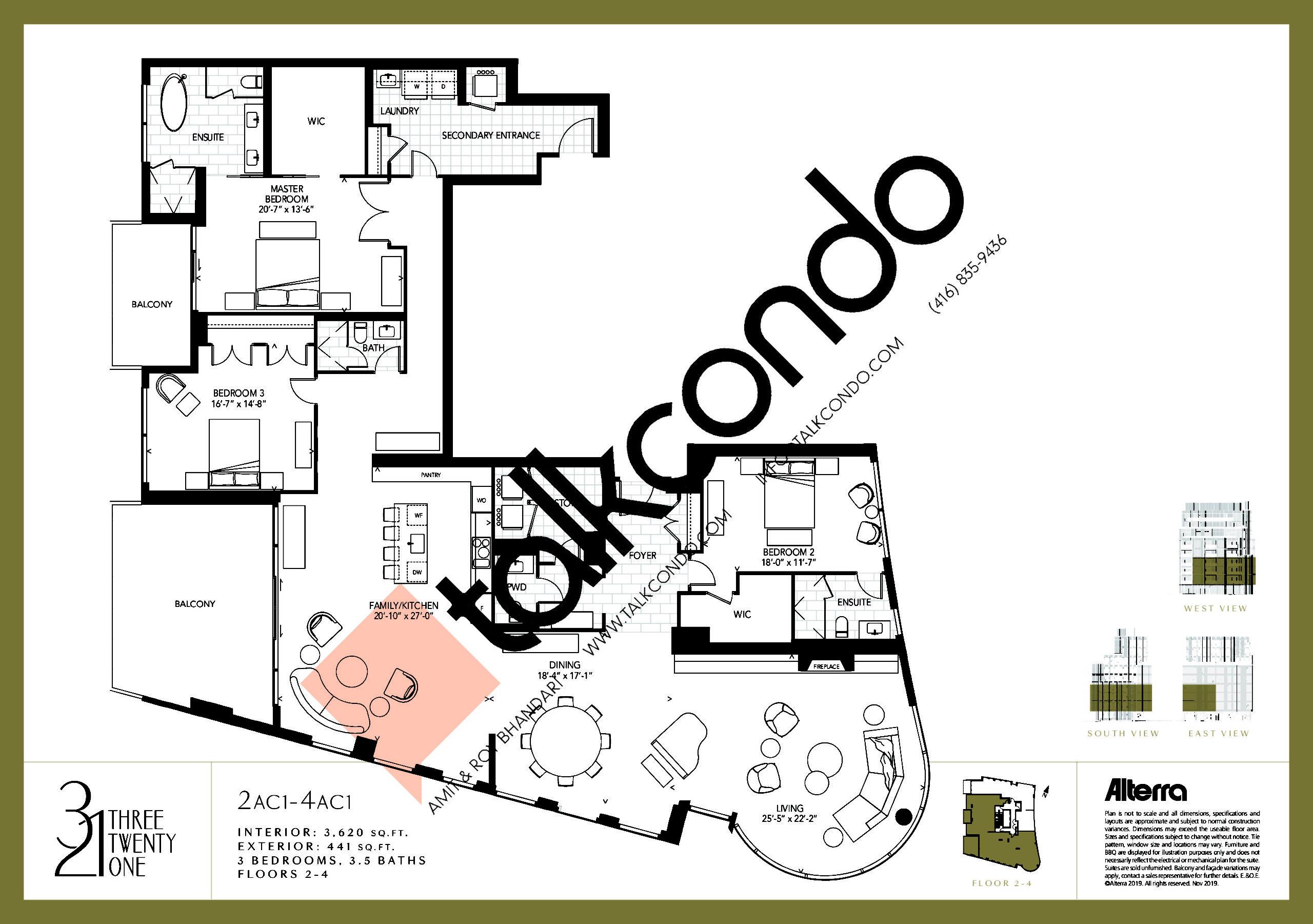 2AC1-4AC1 Floor Plan at 321 Davenport Condos - 3620 sq.ft