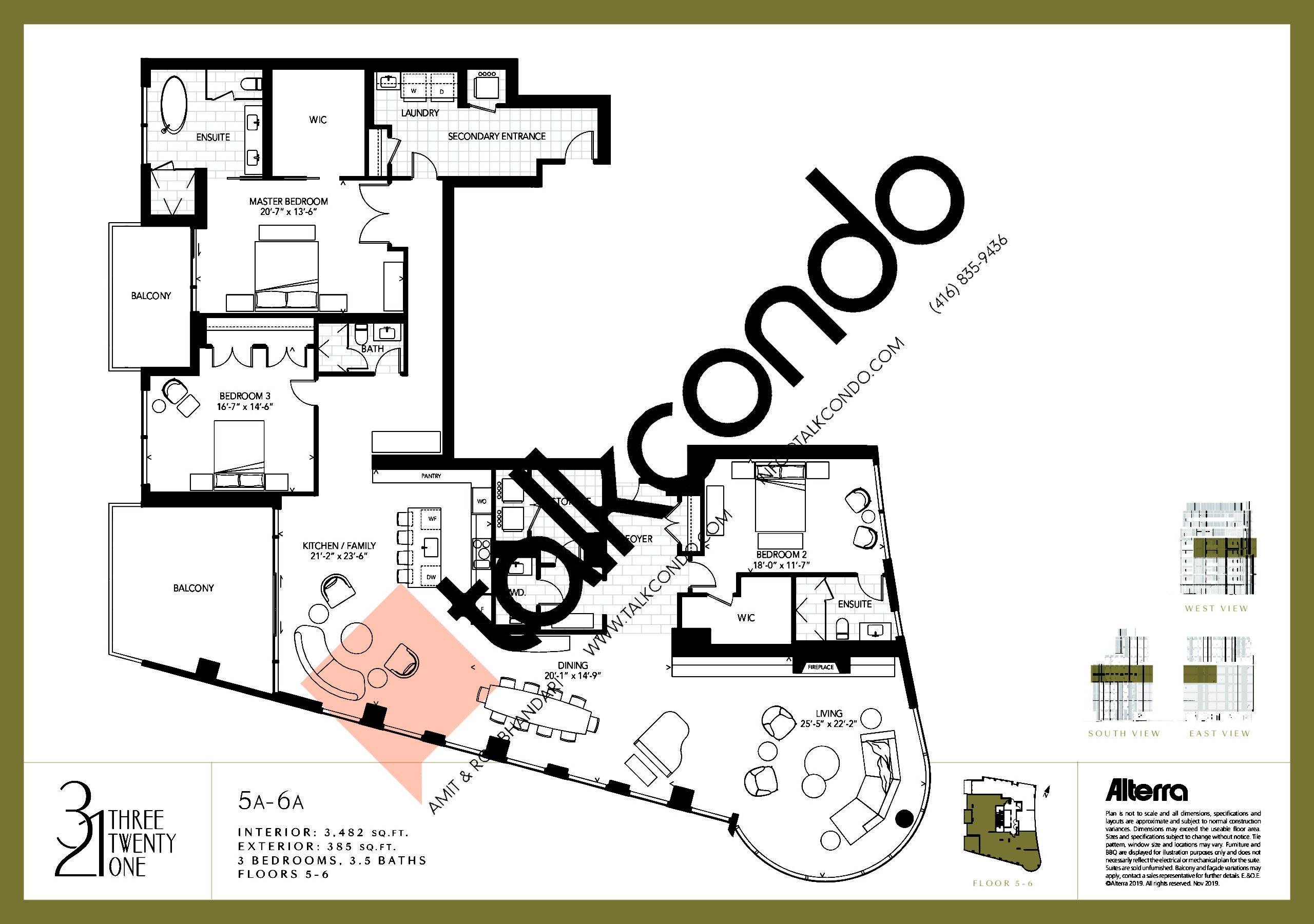 5A-6A Floor Plan at 321 Davenport Condos - 3482 sq.ft