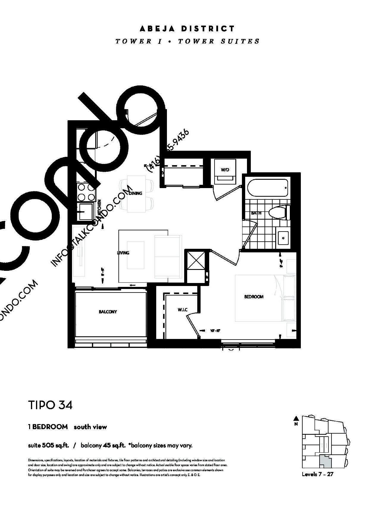 TIPO 34 (Tower) Floor Plan at Abeja District Condos - 505 sq.ft