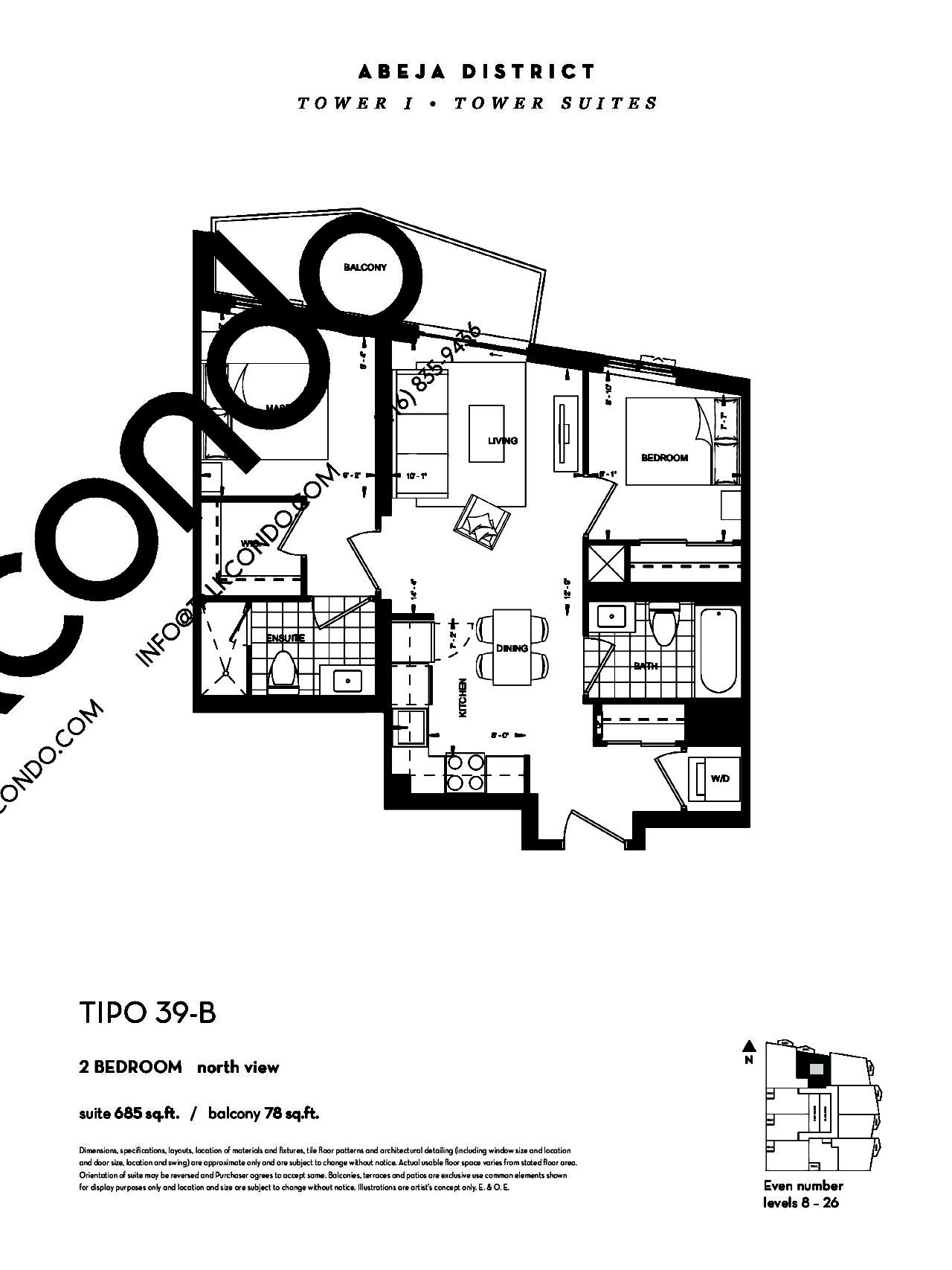 TIPO 39-B (Tower) Floor Plan at Abeja District Condos - 685 sq.ft