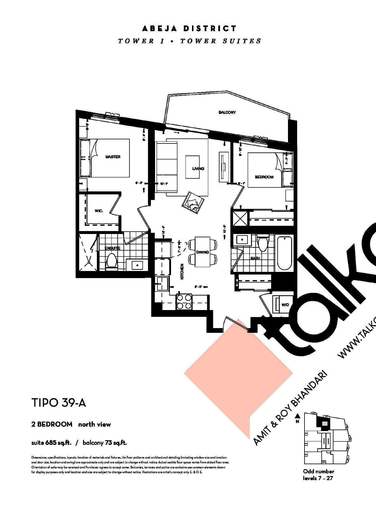TIPO 39-A (Tower) Floor Plan at Abeja District Condos - 685 sq.ft