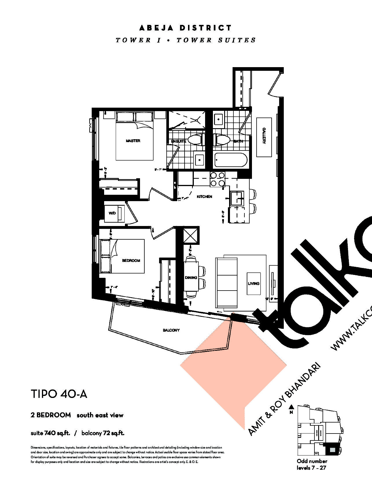 TIPO 40-A (Tower) Floor Plan at Abeja District Condos - 740 sq.ft