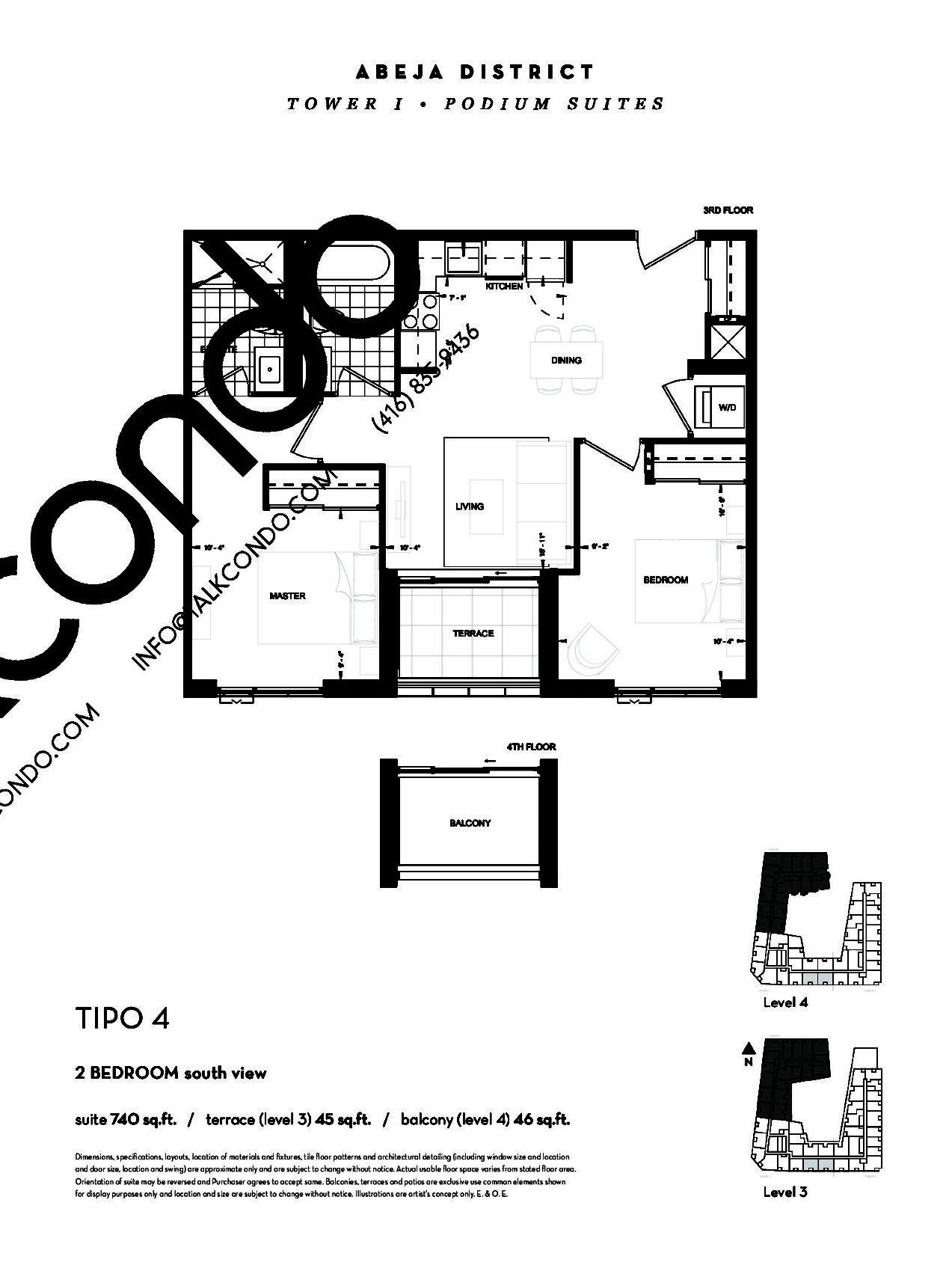 TIPO 4 (Podium) Floor Plan at Abeja District Condos - 740 sq.ft