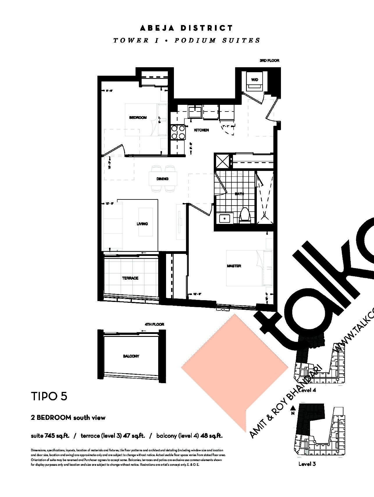 TIPO 5 (Podium) Floor Plan at Abeja District Condos - 745 sq.ft