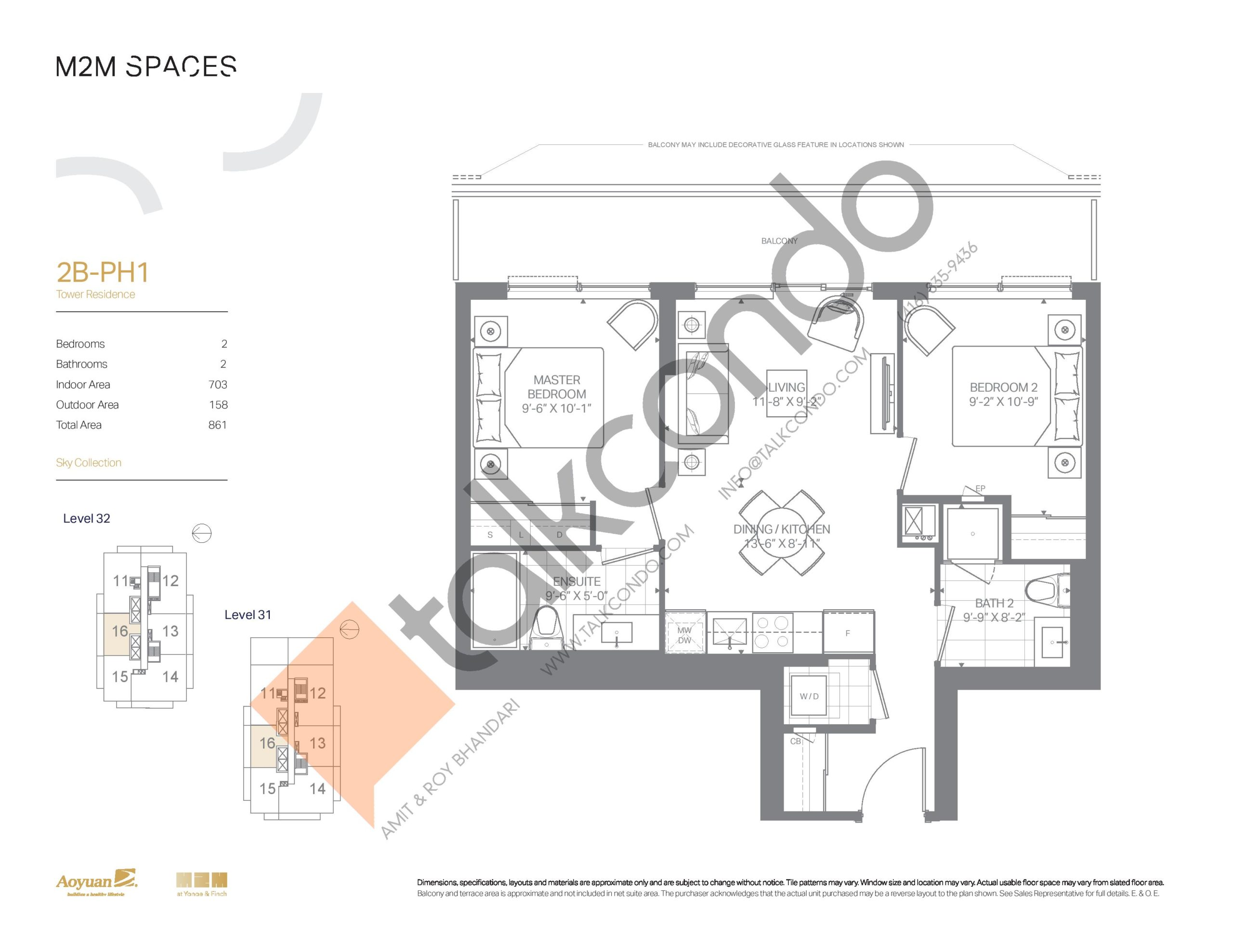 2B-PH1 (Sky Collection) Floor Plan at M2M Spaces Condos - 703 sq.ft