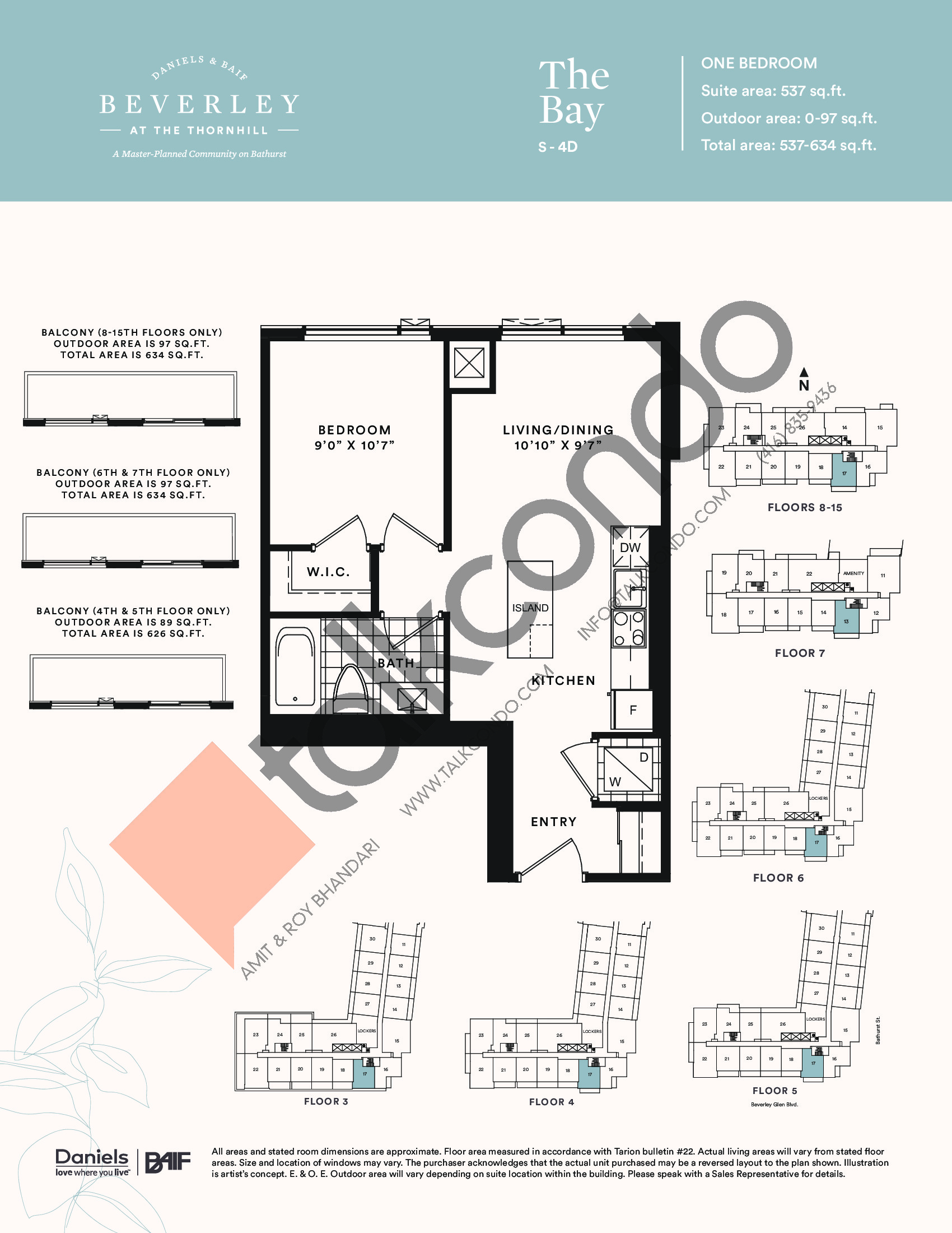 The Bay Floor Plan at The Beverley at the Thornhill Condos - 537 sq.ft
