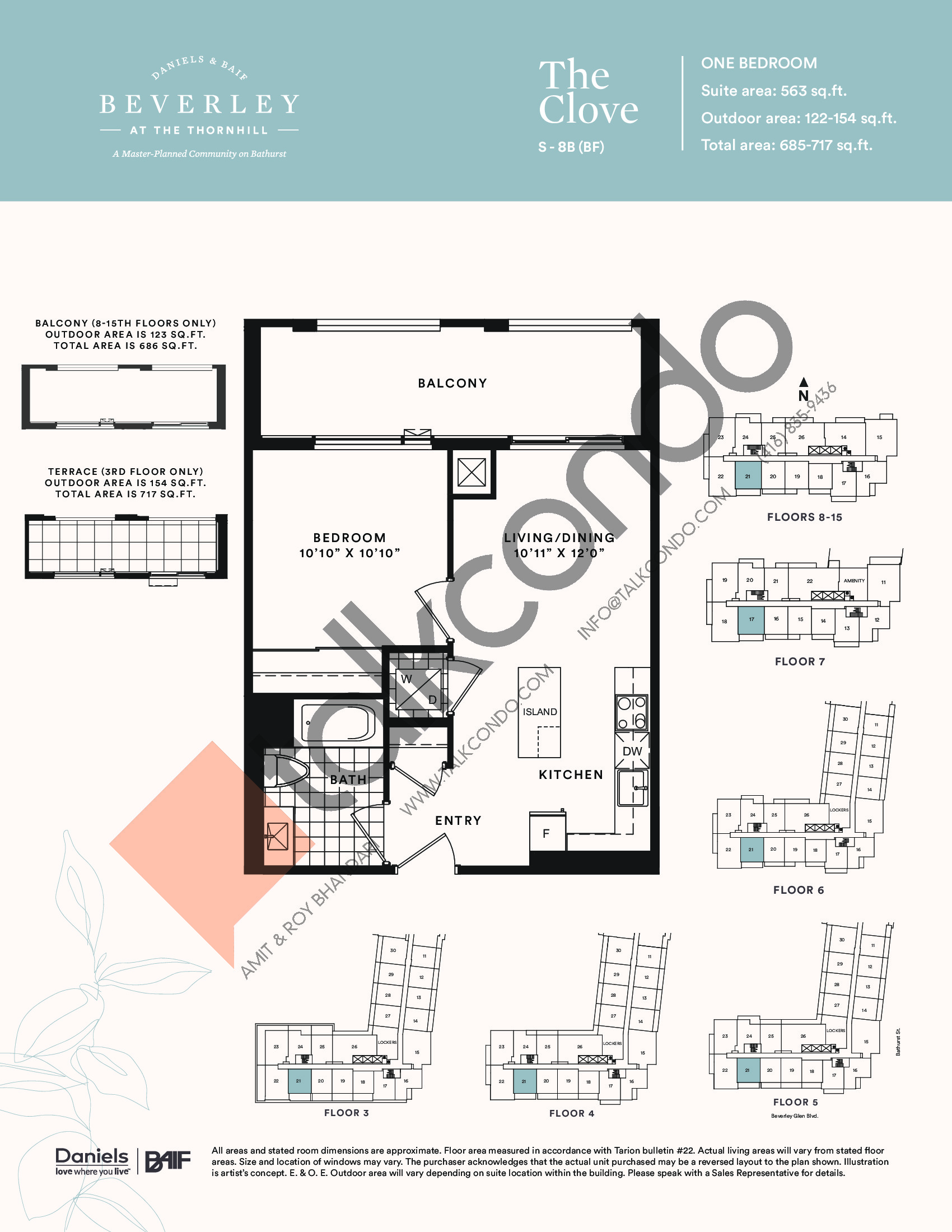 The Clove Floor Plan at The Beverley at the Thornhill Condos - 563 sq.ft