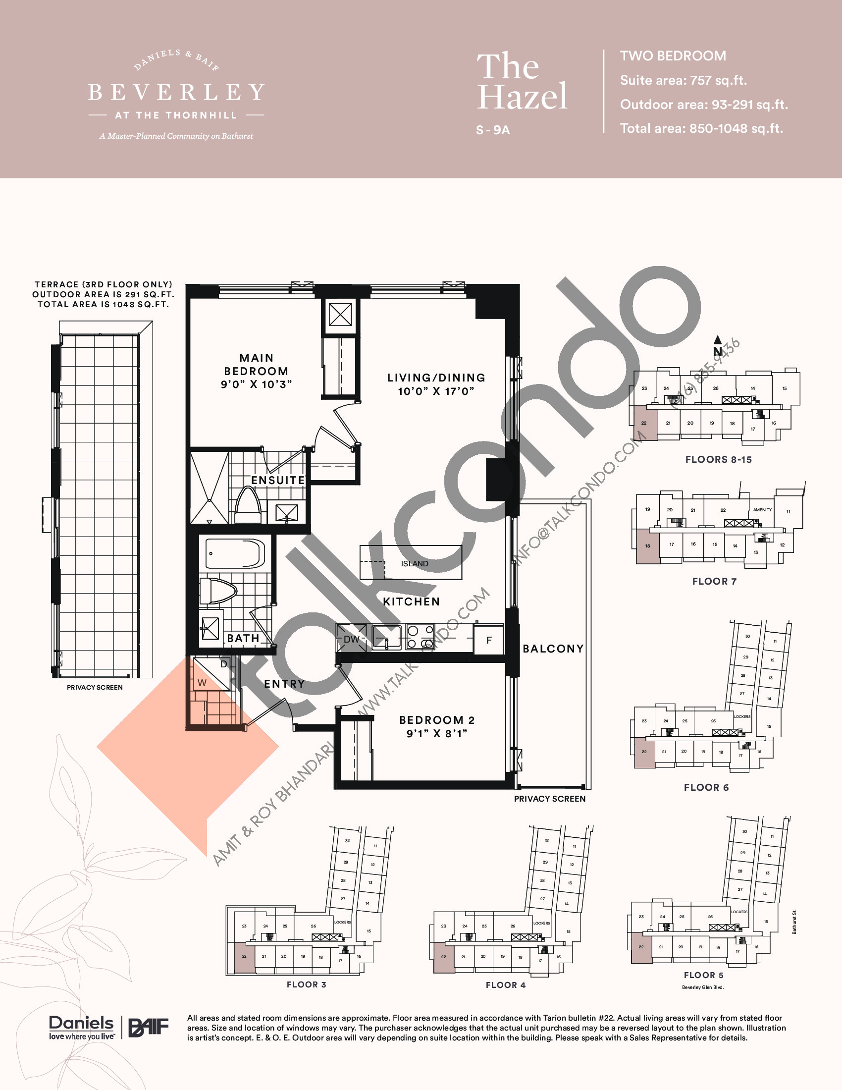 The Hazel Floor Plan at The Beverley at the Thornhill Condos - 757 sq.ft