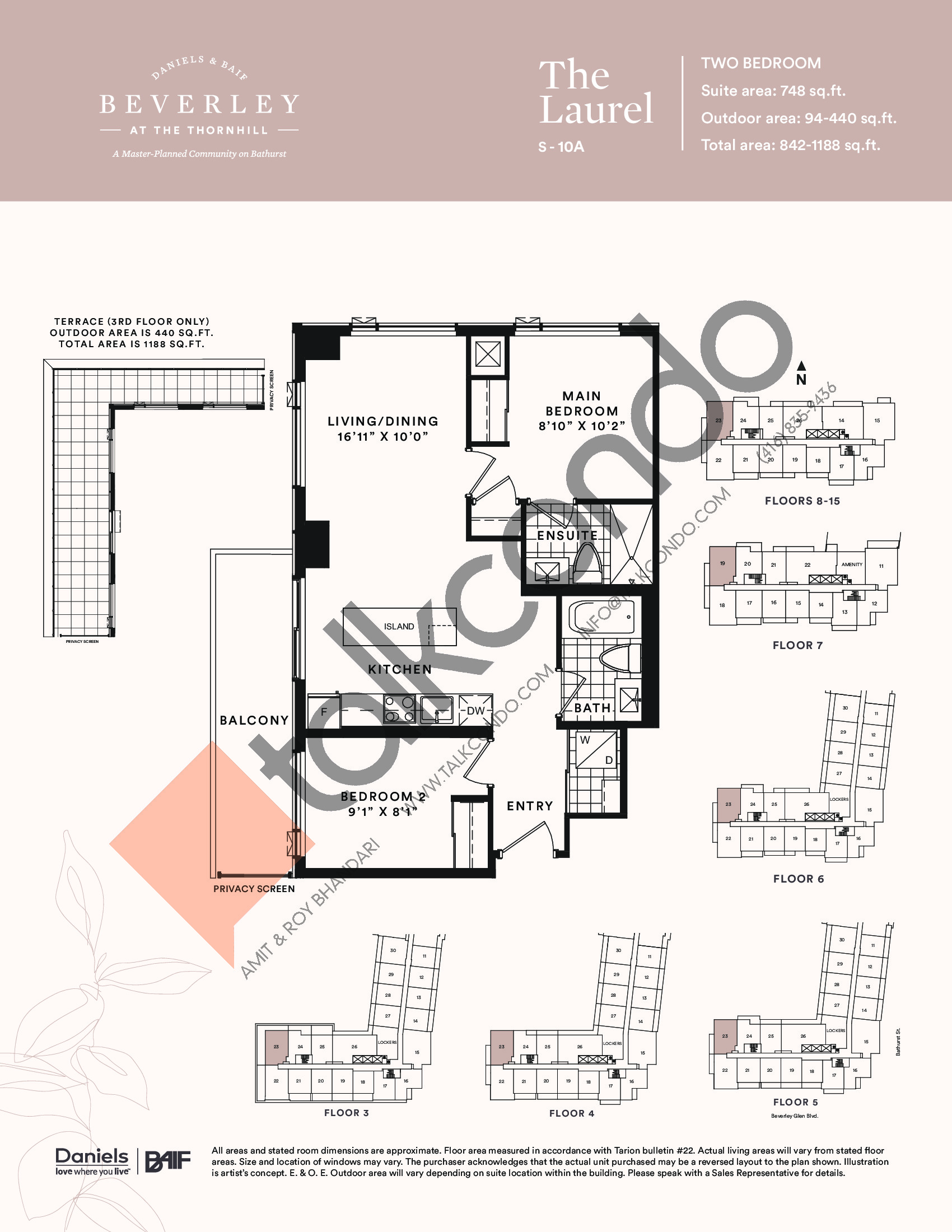 The Laurel Floor Plan at The Beverley at the Thornhill Condos - 748 sq.ft