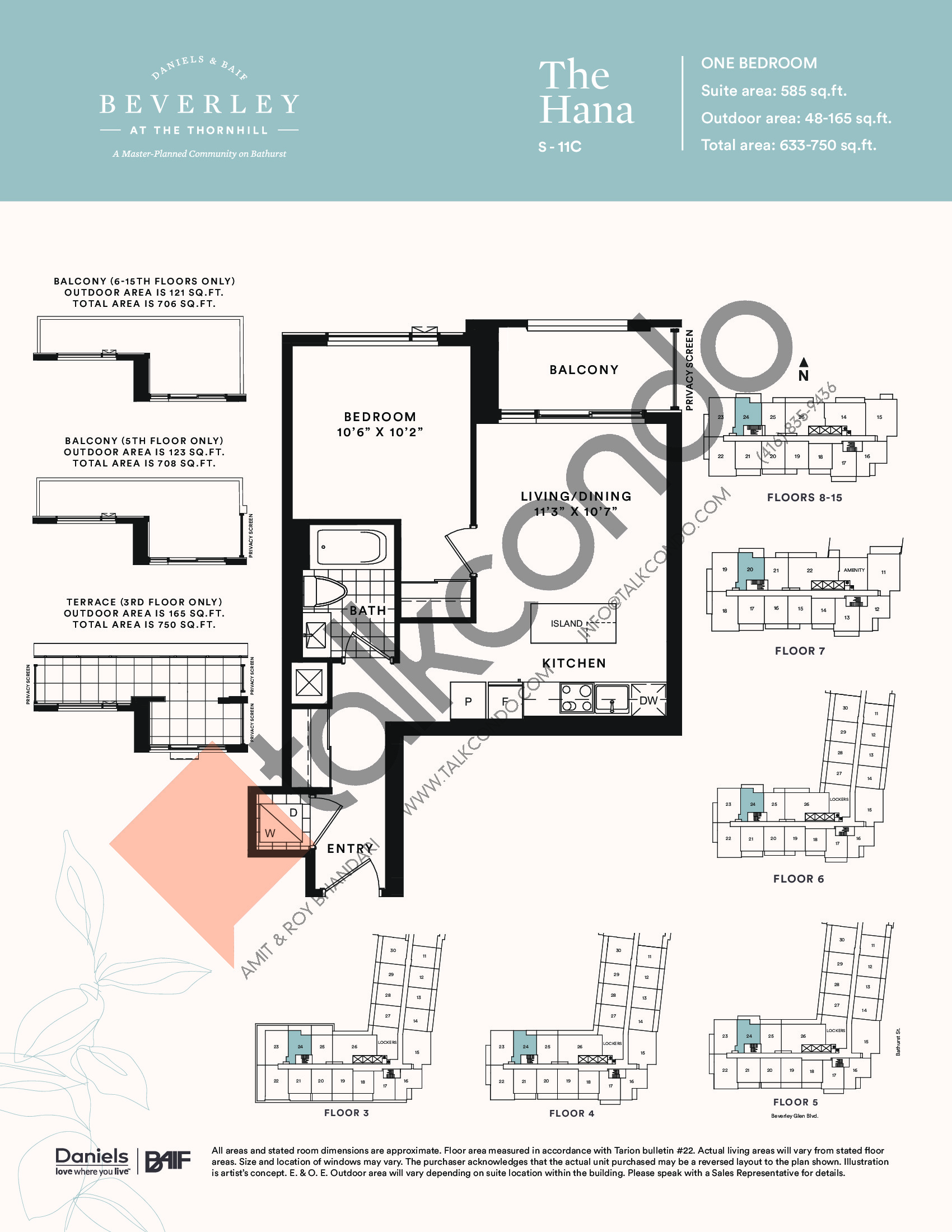 The Hana Floor Plan at The Beverley at the Thornhill Condos - 585 sq.ft