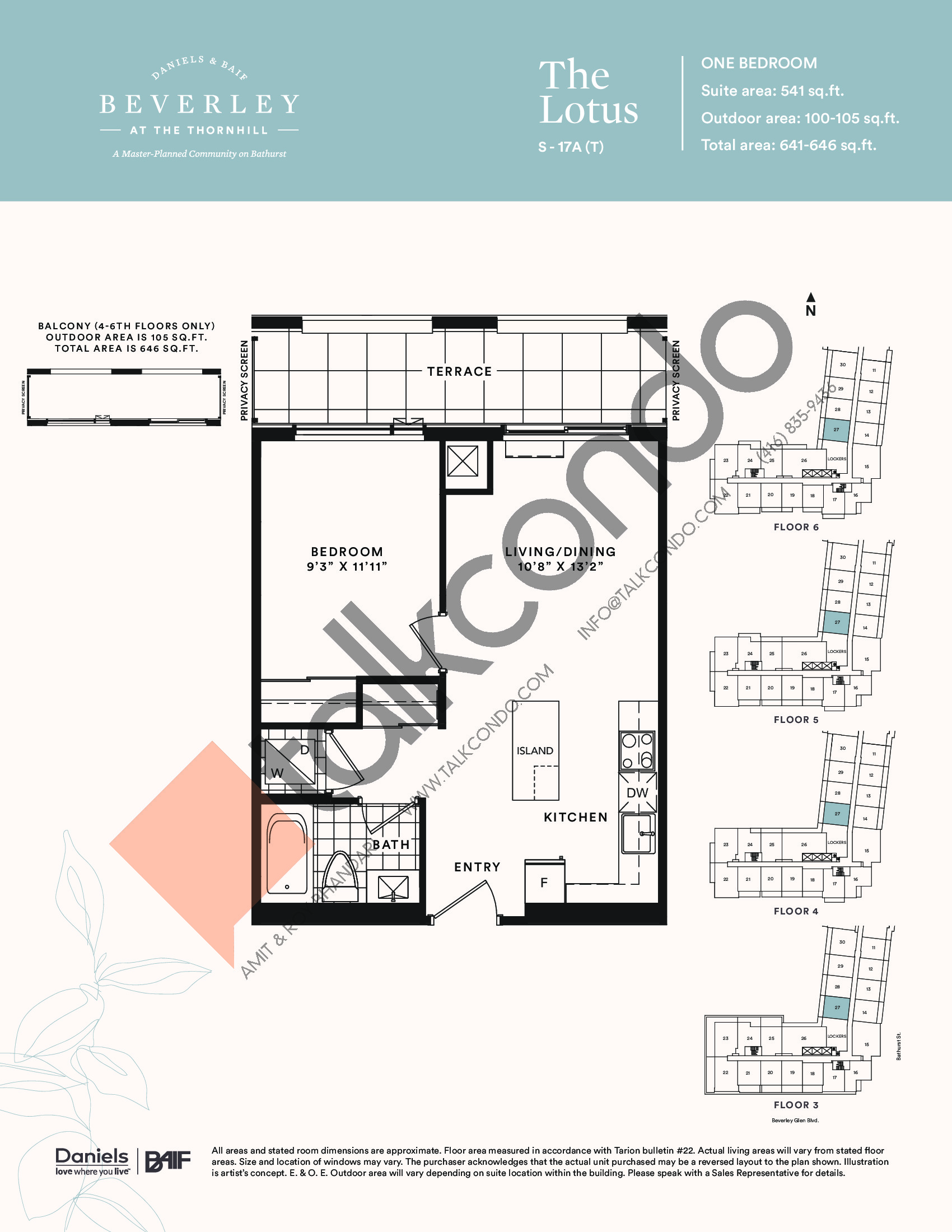 The Lotus Floor Plan at The Beverley at the Thornhill Condos - 541 sq.ft