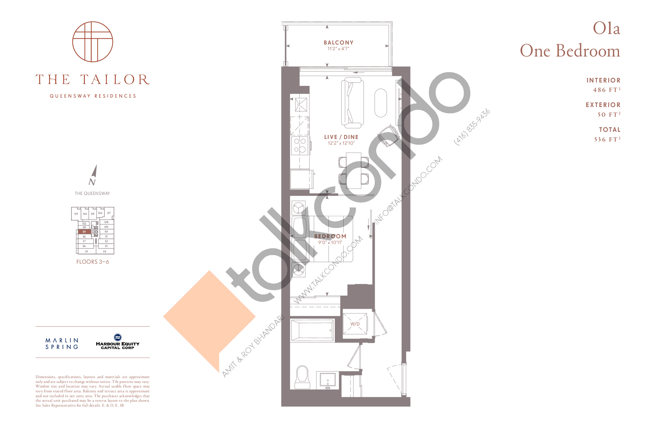 O1a Floor Plan at The Tailor Queensway Residences - 486 sq.ft