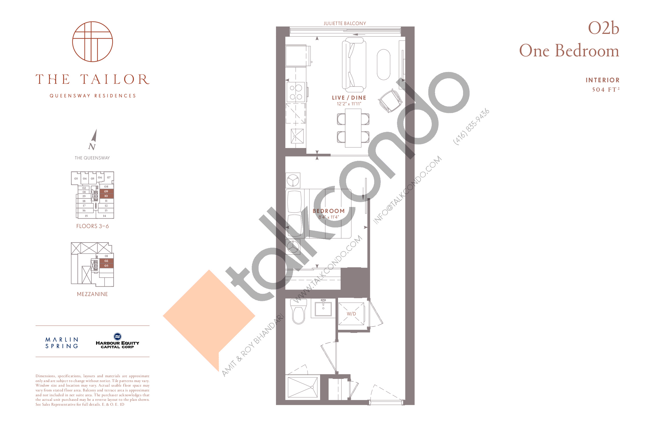 O2b Floor Plan at The Tailor Queensway Residences - 504 sq.ft