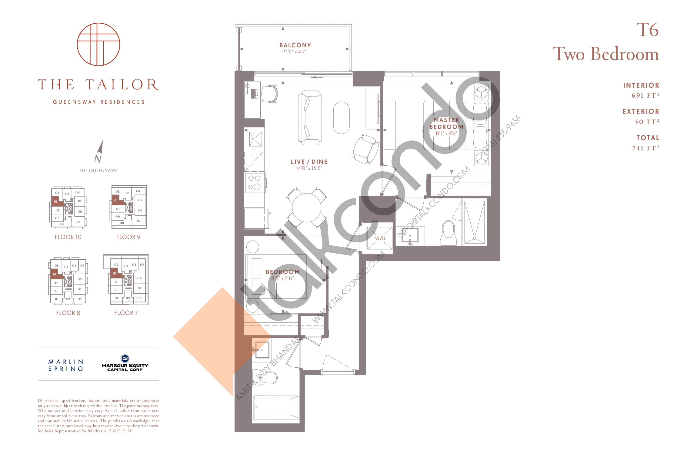 T6 Floor Plan at The Tailor Queensway Residences - 691 sq.ft