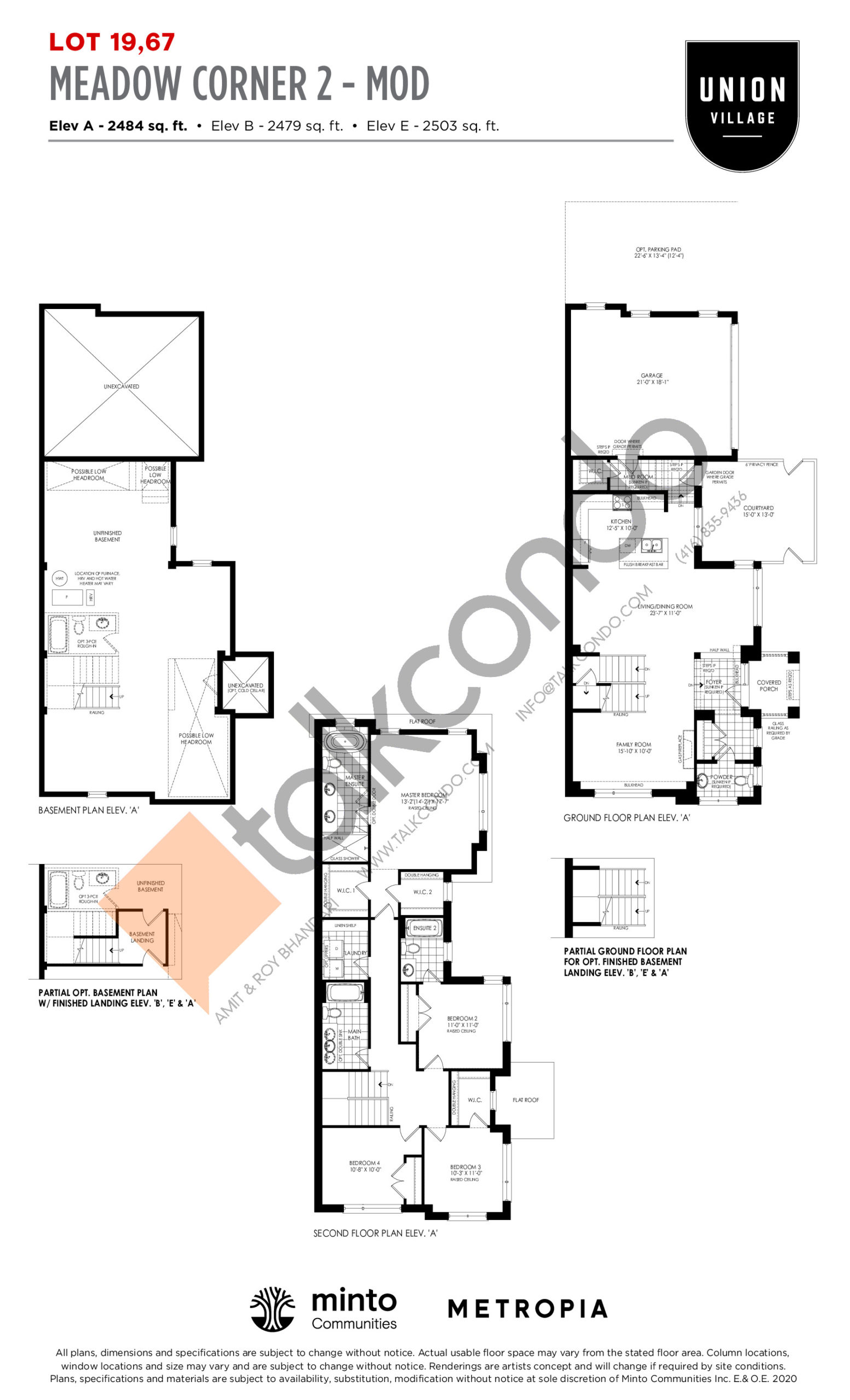 Meadow Corner 2 - MOD Elev A - The Rosewood Collection Floor Plan at Union Village - 2484 sq.ft