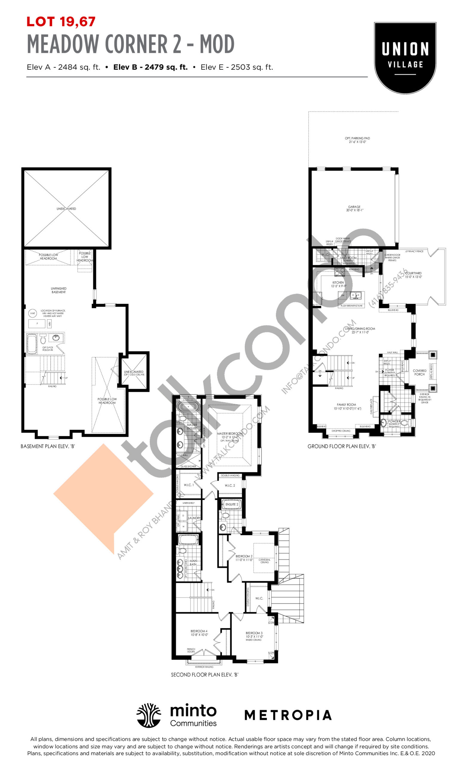 Meadow Corner 2 - MOD Elev B - The Rosewood Collection Floor Plan at Union Village - 2479 sq.ft