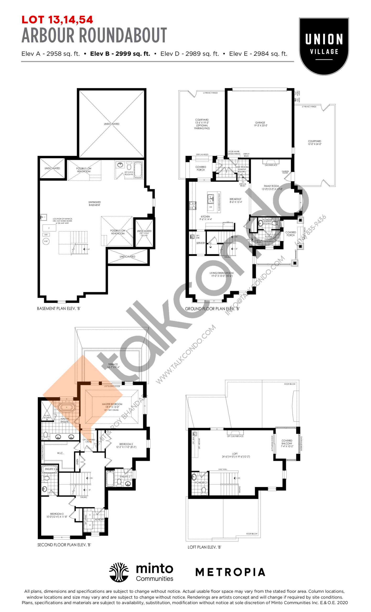 Arbour Roundabout Elev B - The Rosewood Collection Floor Plan at Union Village - 2999 sq.ft