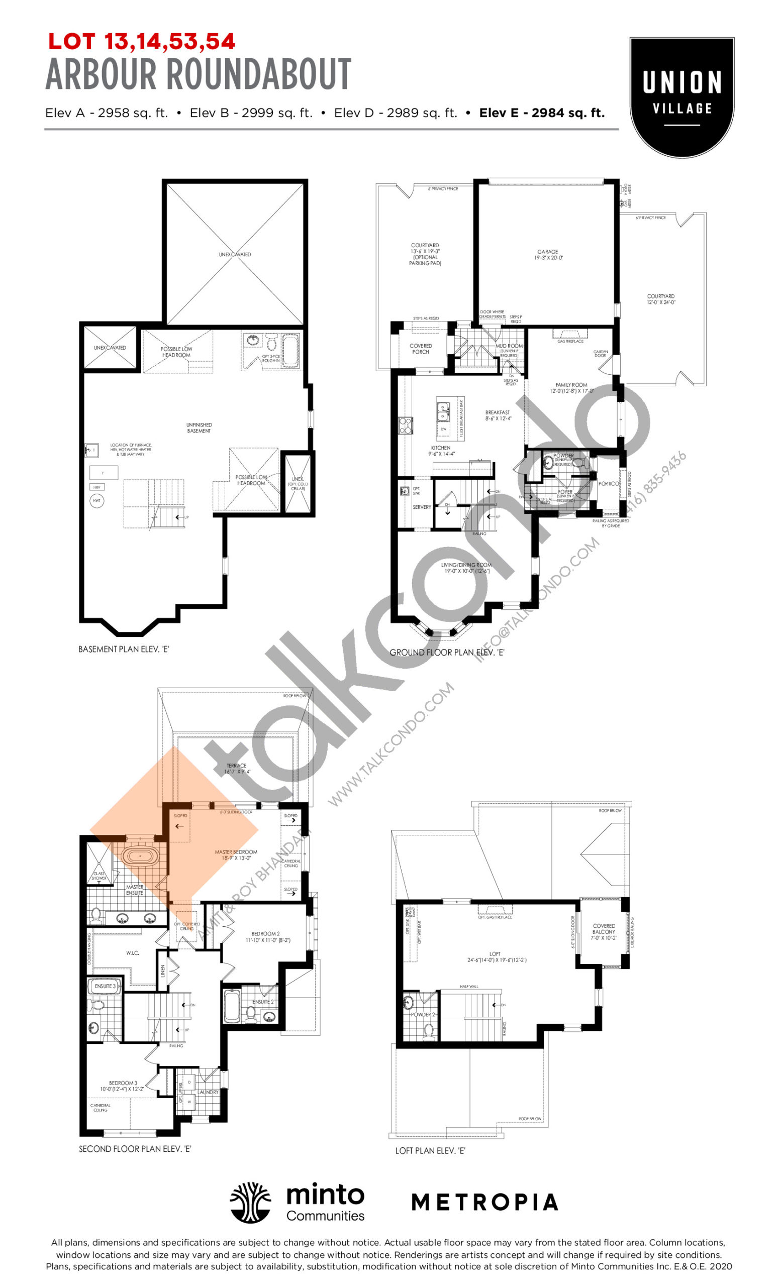 Arbour Roundabout Elev E - The Rosewood Collection Floor Plan at Union Village - 2984 sq.ft