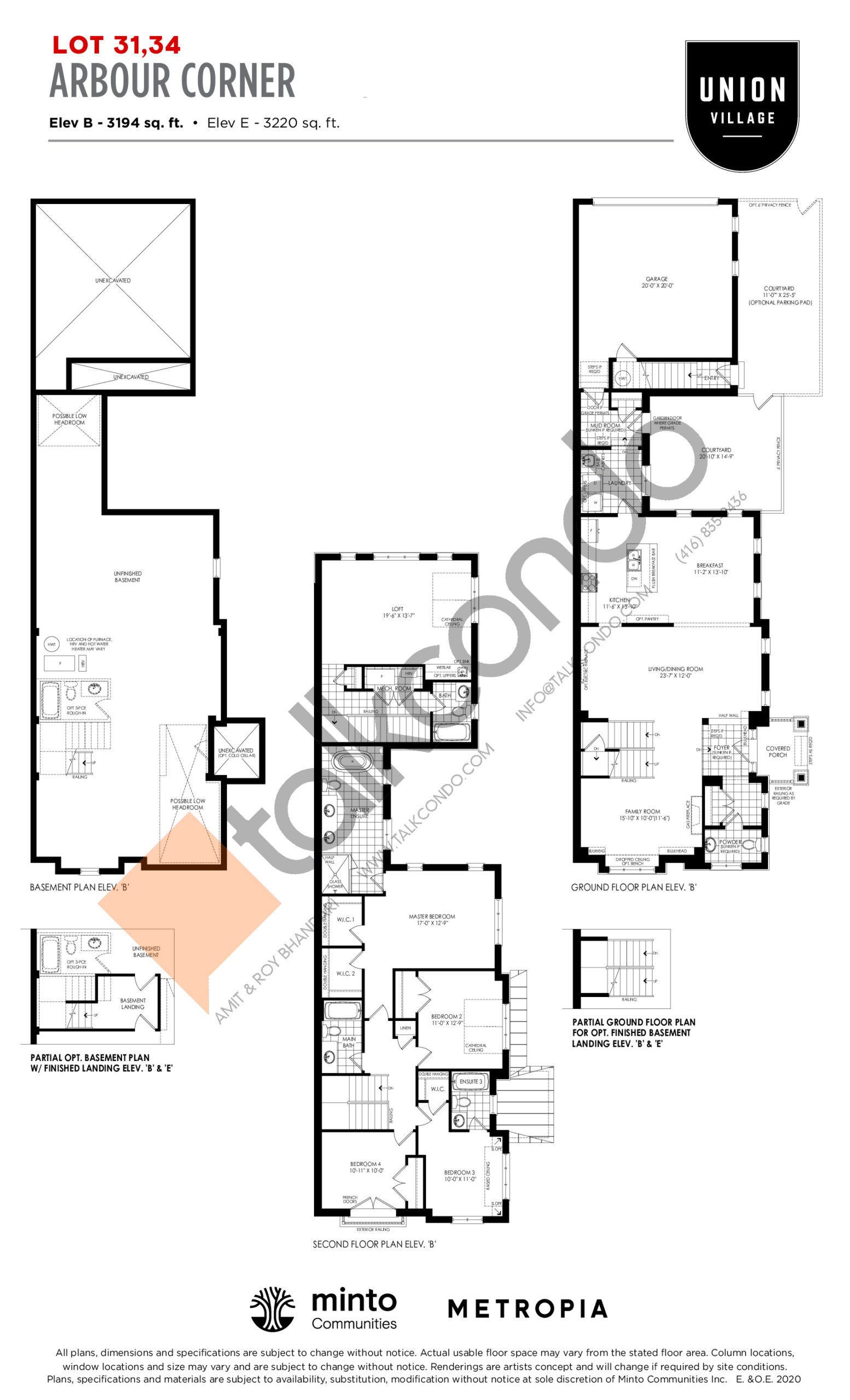 Arbour Corner Elev B - The Rosewood Collection Floor Plan at Union Village - 3194 sq.ft