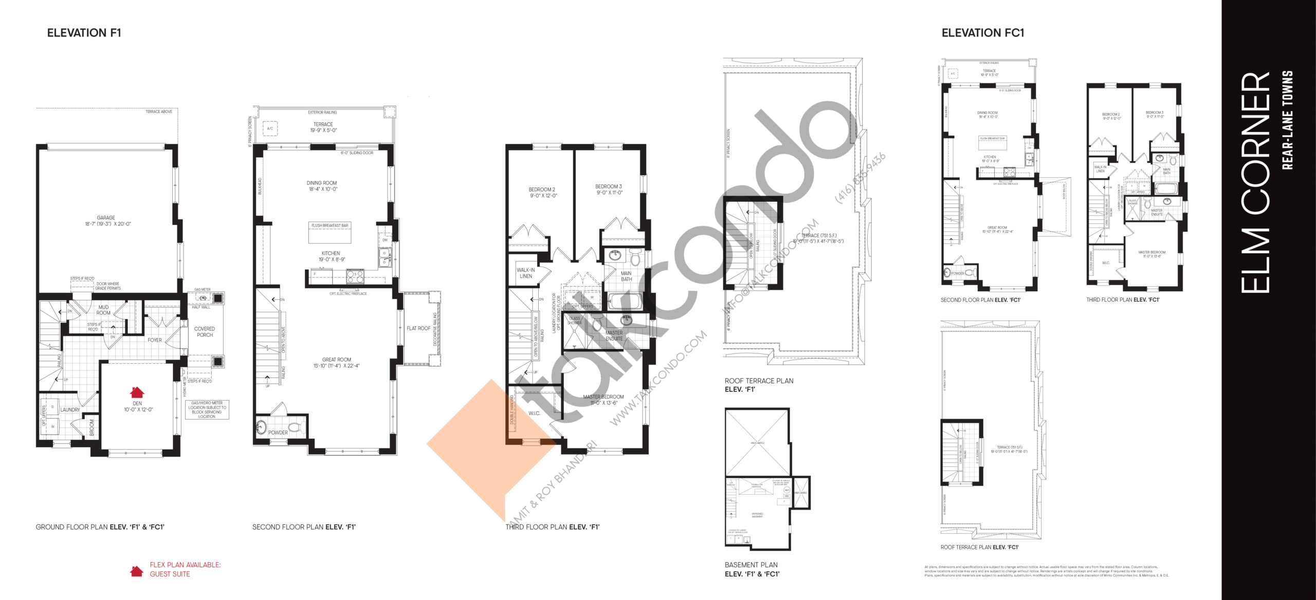 Elm Corner F1 | FC1- Rear-Lane Towns Floor Plan at Union Village - 2334 sq.ft