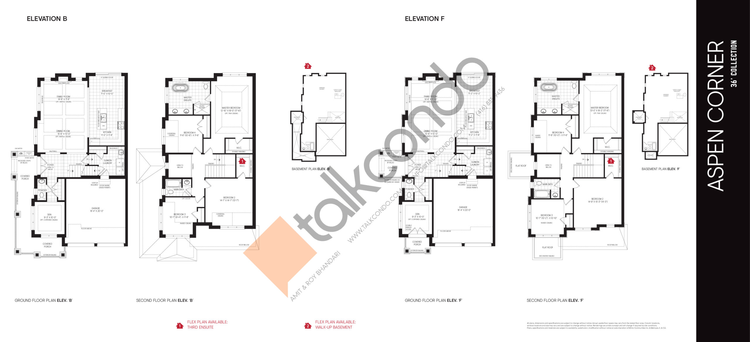 Aspen Corner Elev B | Elev F - 36' Collection Floor Plan at Union Village - 2499 sq.ft