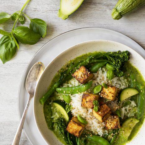 Cari vert et tofu au gingembre