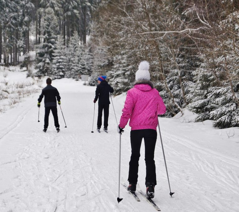 People out cross country skiing