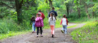 mothers and children hiking at TRCA Conservation park