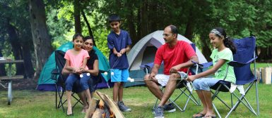 family toasting marshmallows at Albion Hills campground