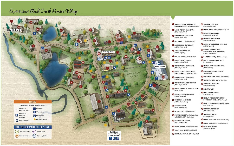 map of black creek pioneer village