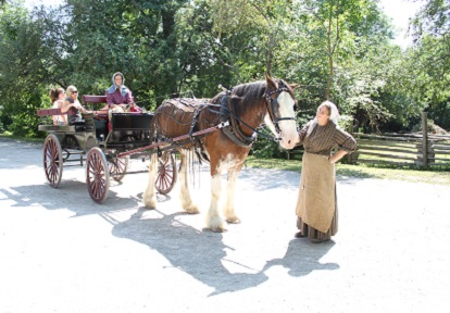 Black Creek history actors and visitors prepare for horse-drawn wagon ride