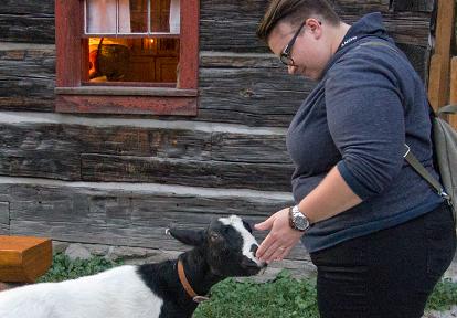 Black Creek visitor pets heritage goat