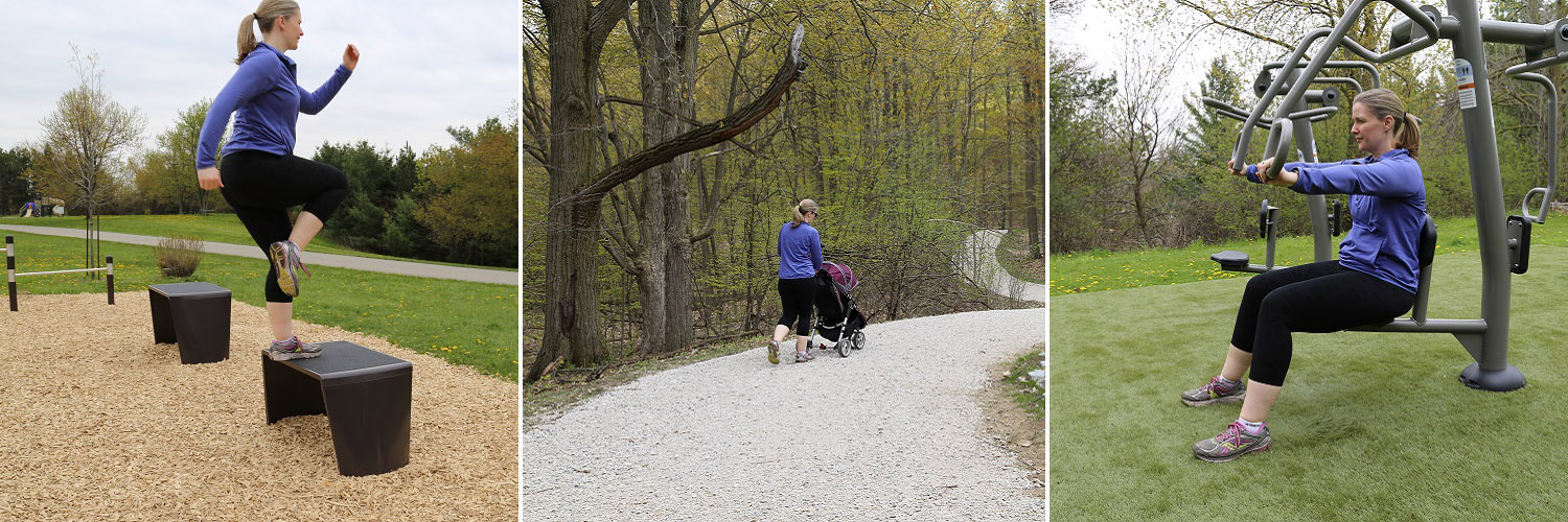 young mother exercises at various stations of the heart lake fitness trail