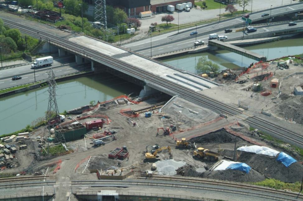 Northern span of the Don River Bridge under construction and the Bala Underpass