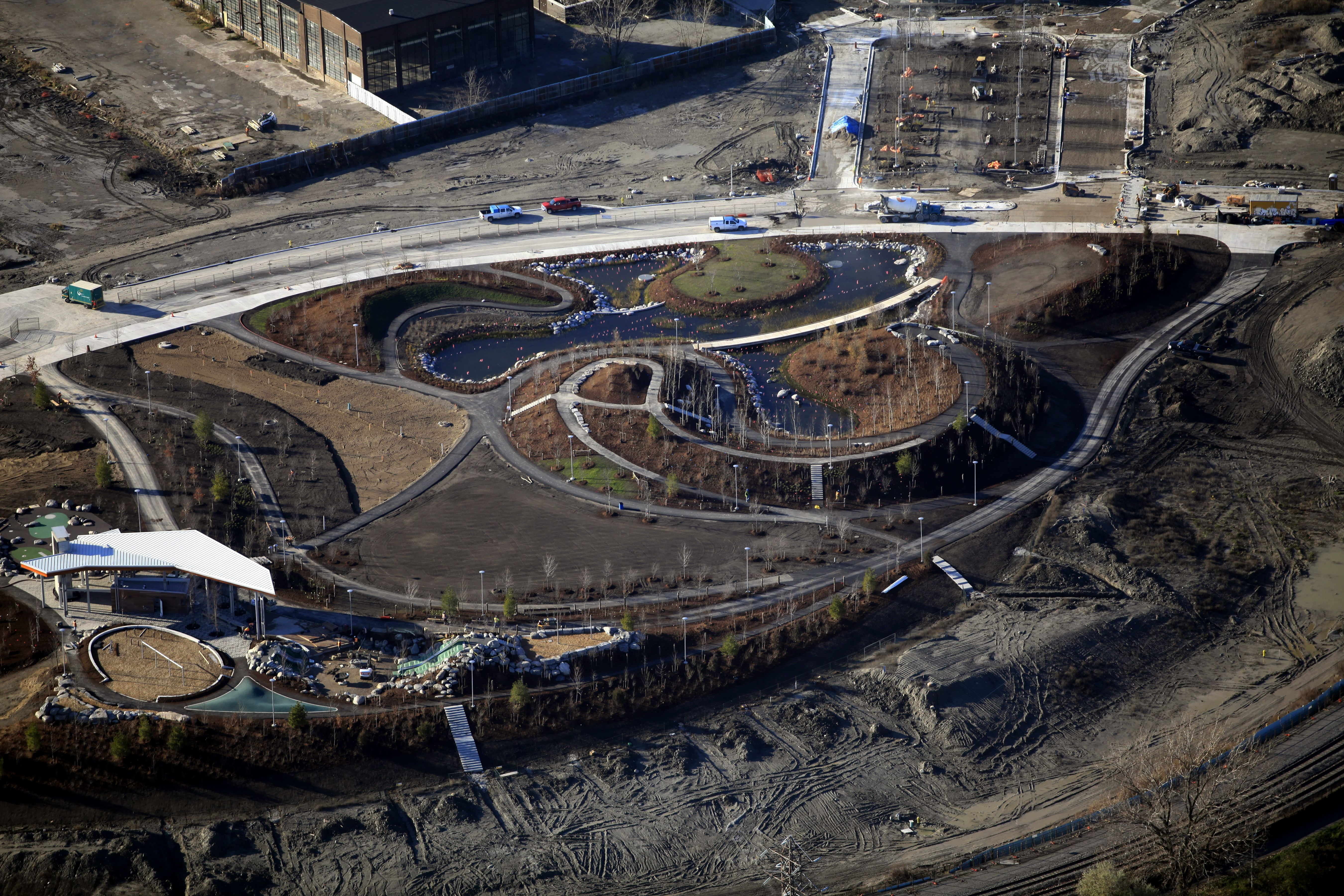 Aerial view of Corktown Common showing topography as it begins to naturalize