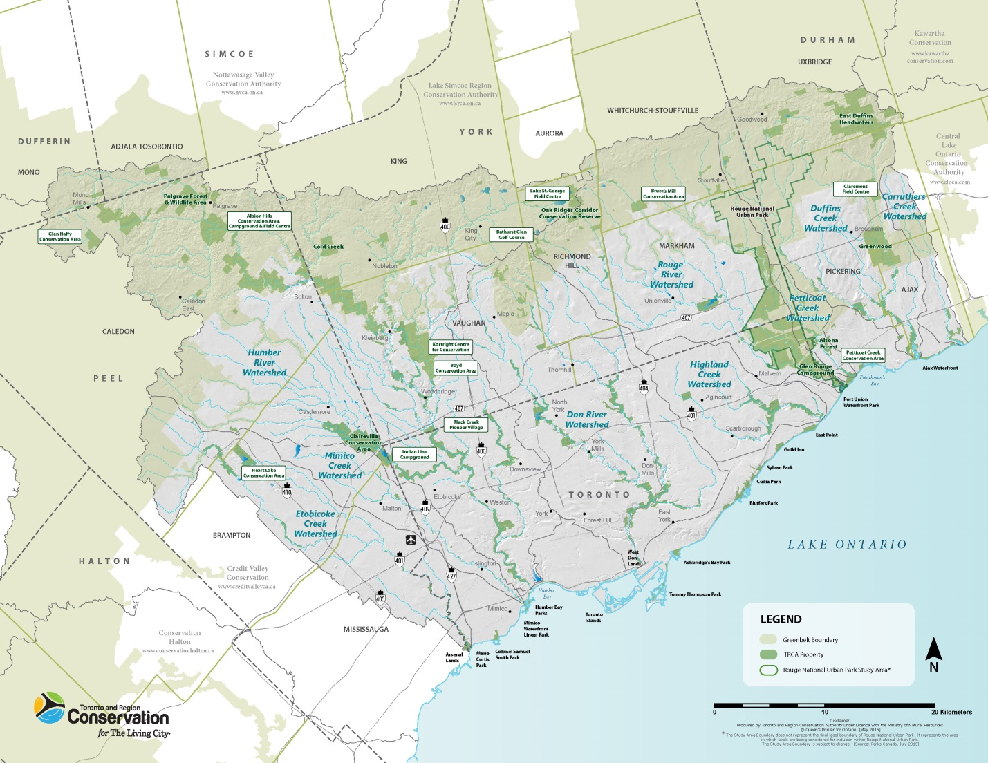 map of the nine watersheds in TRCA jurisdiction