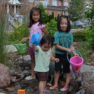 Youngsters enjoy the results of the Lake Wilcox SNAP Eco-landscaping project