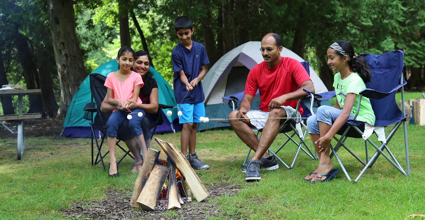 family toasts marshmallows at albion hills campground