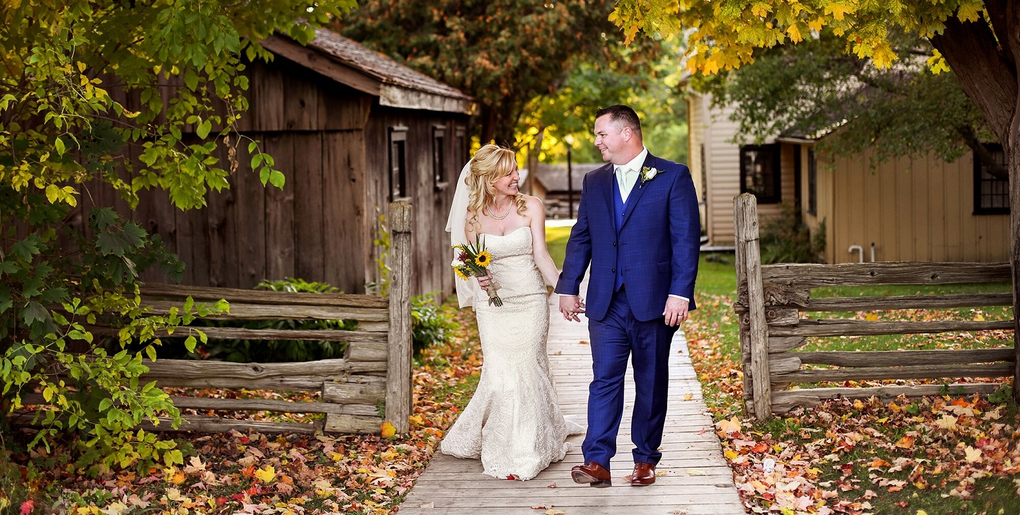 Black creek pioneer village offers the perfect backdrop for a wedding photo